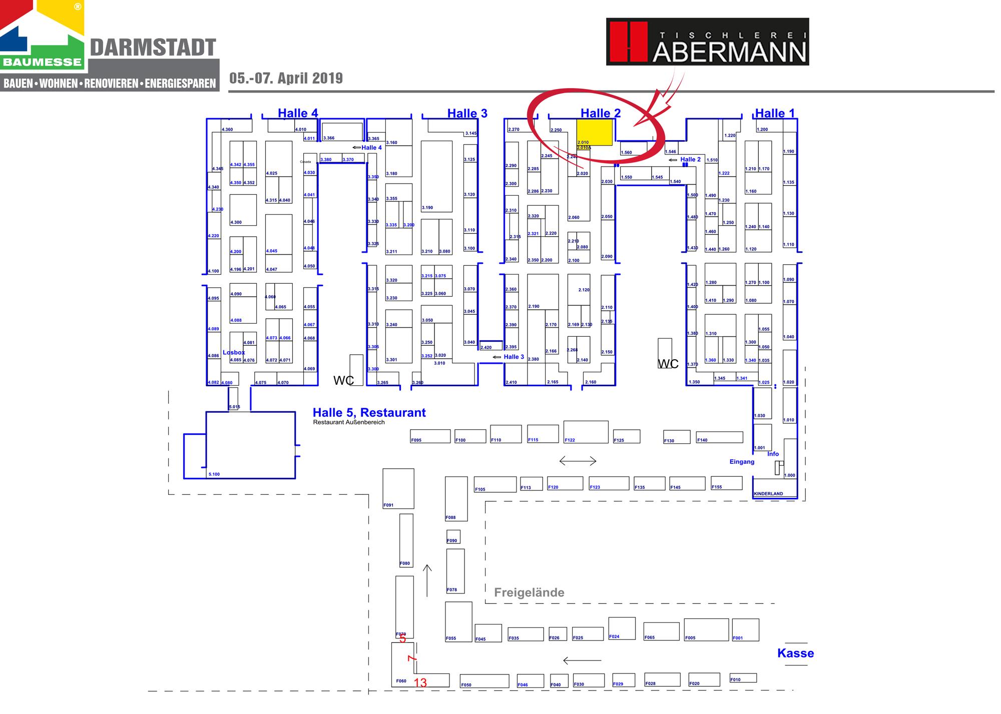 Hallenplan und Stand der Tischlerei Habermann auf der Darmstädter Baumesse 2019